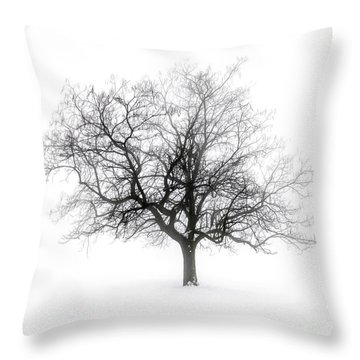 Winter Tree In Fog Throw Pillow
