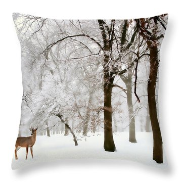 Winter's Breath Throw Pillow by Jessica Jenney