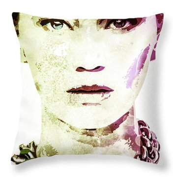 Jennifer Lawrence Throw Pillow by Svelby Art