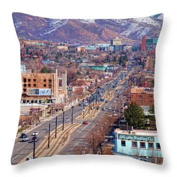 Throw Pillow featuring the photograph 400 S Salt Lake City by Ely Arsha