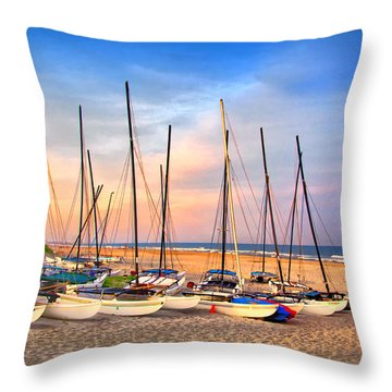 41st Street Sailing Beach Throw Pillow