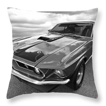428 Cobra Jet Mach1 Ford Mustang 1969 In Black And White Throw Pillow