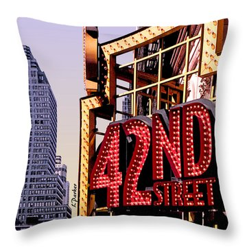 42nd Street New York City Throw Pillow by Linda  Parker