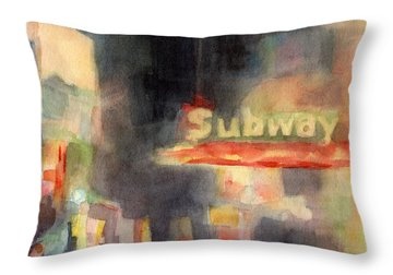 42nd Street Subway Watercolor Painting Of Nyc Throw Pillow by Beverly Brown Prints