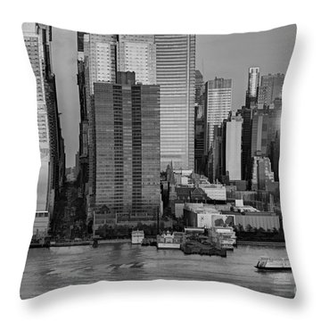 42nd Street Times Square Bw Throw Pillow by Susan Candelario