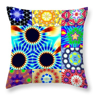 432hz Cymatics Grid Throw Pillow