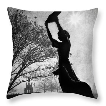 44 Years Of Waving - Black And White Throw Pillow