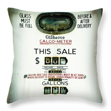45 Cents Per Gallon Throw Pillow by Rebecca Sherman