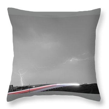 47 Street Lightning Storm Light Trails View Bwsc Throw Pillow by James BO  Insogna