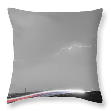 47 Street Lightning Storm Light Trails View Panorama Throw Pillow by James BO  Insogna