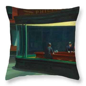 Throw Pillow featuring the painting Nighthawks by Edward Hopper