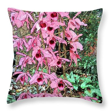 Romantic Orchids Throw Pillow