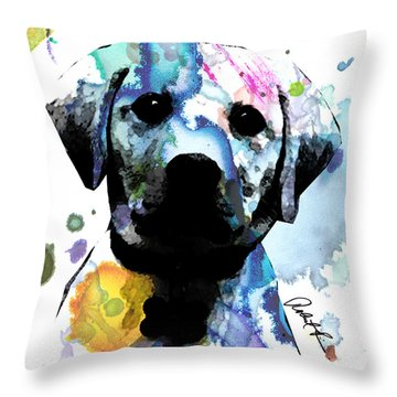 48x44 Labrador Puppy Dog Art- Huge Signed Art Abstract Paintings Modern Www.splashyartist.com Throw Pillow