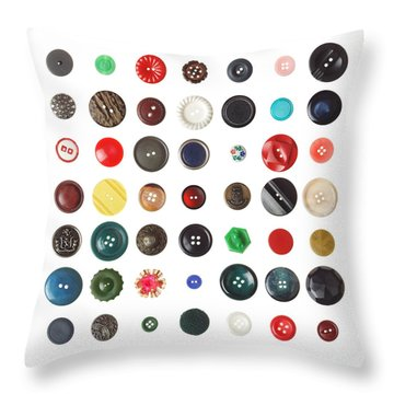 49 Buttons Throw Pillow