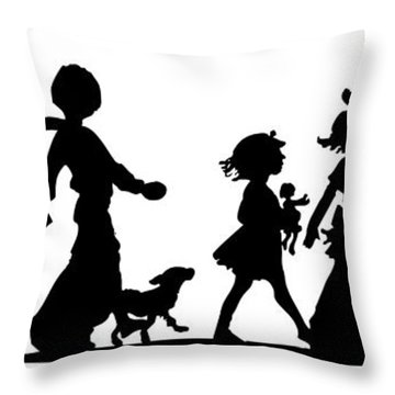 Throw Pillow featuring the digital art 4th Of July Childrens Parade Panorama by Rose Santuci-Sofranko