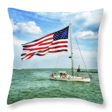 4th Of July - Navy Pier - Downtown Chicago Throw Pillow by Photography  By Sai