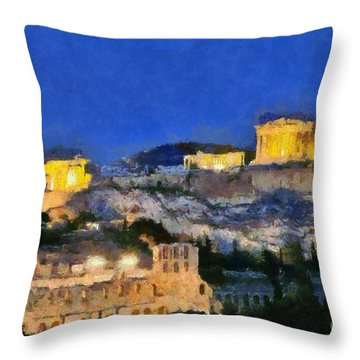 Acropolis Of Athens During Dusk Time Throw Pillow