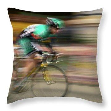 Amateur Men Bicyclists Competing Throw Pillow