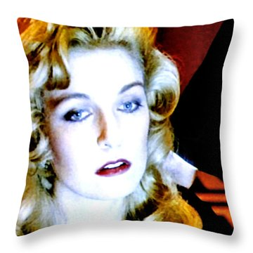 Throw Pillow featuring the painting Black Lodge by Luis Ludzska