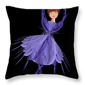 5 Blue Ballerina Throw Pillow by Andee Design