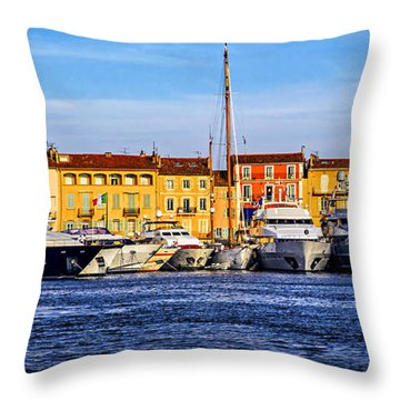 Boats At St.tropez Throw Pillow by Elena Elisseeva