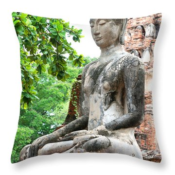 Buddha Statue Throw Pillow