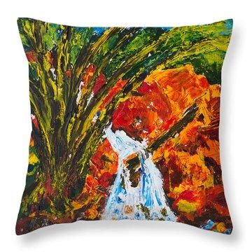 Burch Creek Waterfall Throw Pillow