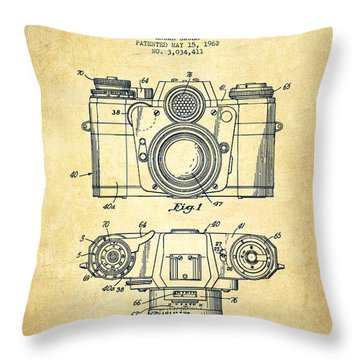 Camera Patent Drawing From 1962 Throw Pillow