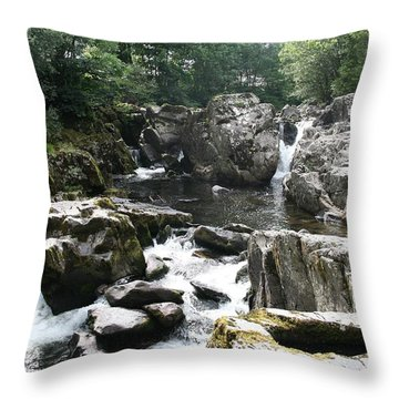 Conwy River Near Betws Y Coed.  Throw Pillow by Christopher Rowlands