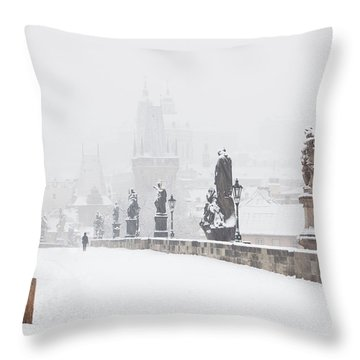 Czech Republic, Prague - Charles Bridge Throw Pillow