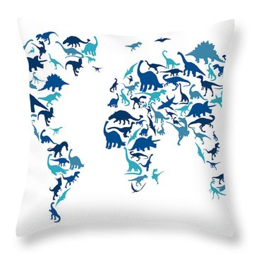Dinosaur Map Of The World Map Throw Pillow by Michael Tompsett
