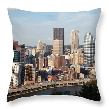 Downtown Skyline Of Pittsburgh Pennsylvania Throw Pillow by Bill Cobb