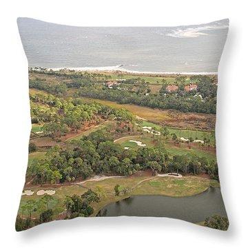 East Coast Aerial Near Jekyll Island Throw Pillow by Betsy Knapp