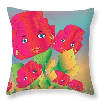 Family Throw Pillow by Iris Gelbart