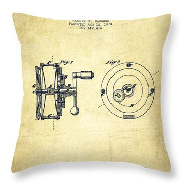 Fishing Reel Patent From 1874 Throw Pillow