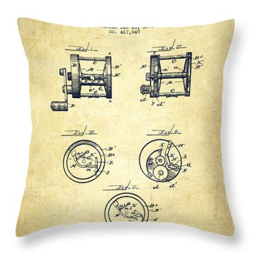 Fishing Reel Patent From 1892 Throw Pillow