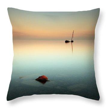 Flat Calm Shipwreck  Throw Pillow