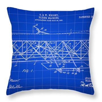Flying Machine Patent 1903 - Blue Throw Pillow