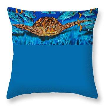 Sea Turtle And Jacks Throw Pillow
