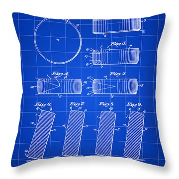 Hockey Puck Patent 1940 - Blue Throw Pillow