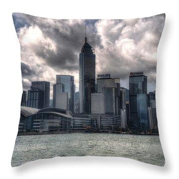Throw Pillow featuring the photograph Hong Kong Harbour by Joe  Ng