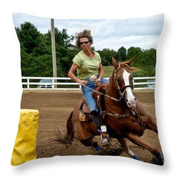 Horse And Rider In Barrel Race Throw Pillow by Amy Cicconi