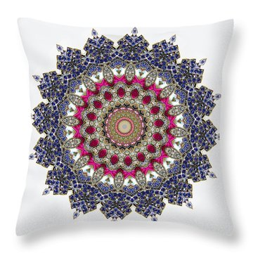 Kaleidoscope Colorful Jeweled Rhinestones Throw Pillow by Amy Cicconi