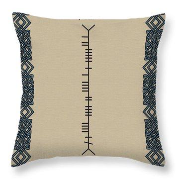 Throw Pillow featuring the digital art Kehoe Written In Ogham by Ireland Calling