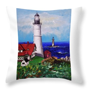Lighthouse Hill Throw Pillow by Linda Simon