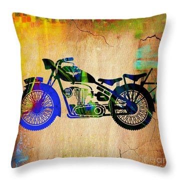 Motorcycle. Throw Pillow by Marvin Blaine