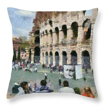 Outside Colosseum In Rome Throw Pillow by George Atsametakis