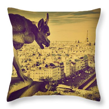 Paris Panorama France  Throw Pillow by Michal Bednarek