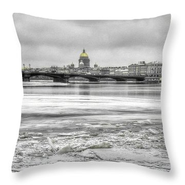 Throw Pillow featuring the pyrography Peterburg Winter by Yury Bashkin