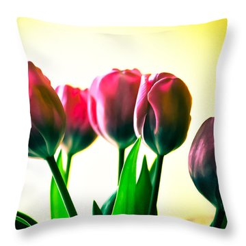 5 Pink Tulips Throw Pillow